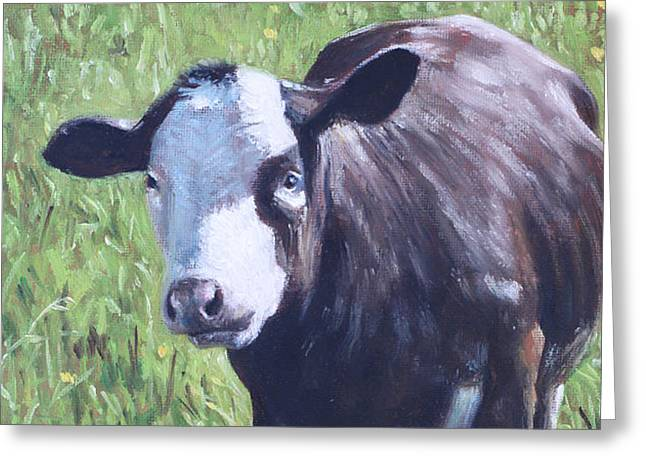 Cow In Grass Greeting Card by Martin Davey