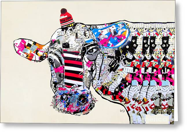 Cow In New York Greeting Card by Bri B