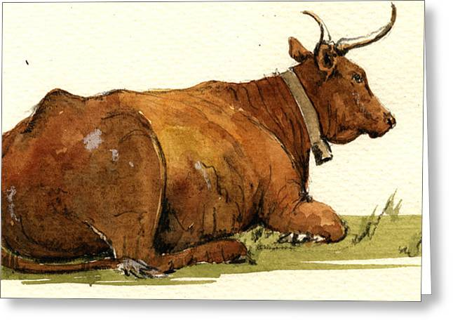 Cow In The Grass Greeting Card by Juan  Bosco