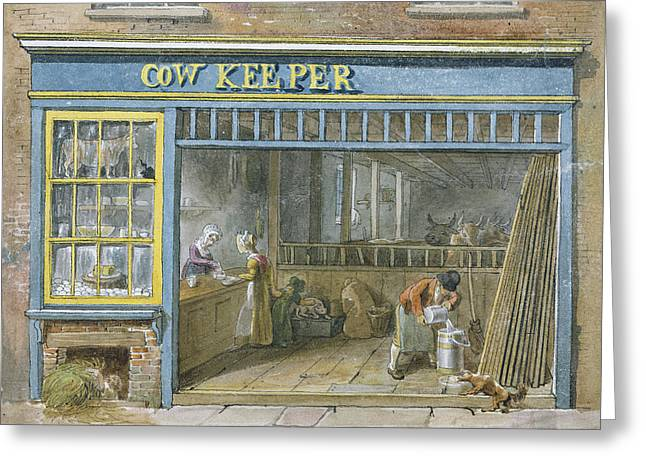 Cow Keeper Greeting Card by George the Elder Scharf