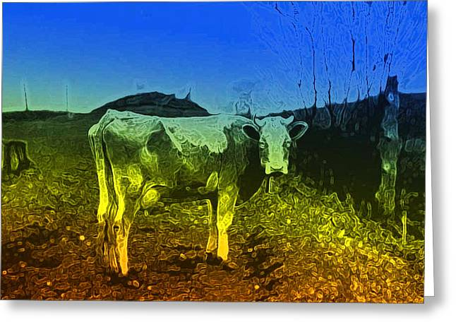 Greeting Card featuring the digital art Cow On Lsd by Cathy Anderson