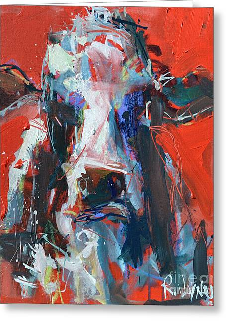 Cow On Red Greeting Card by Robert Joyner