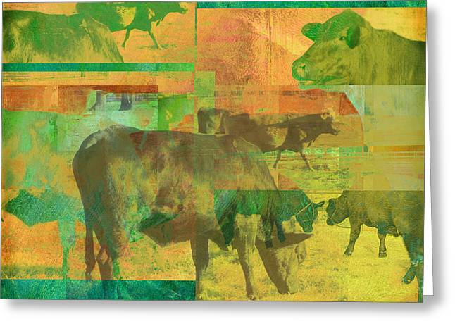 Cow Pasture Collage Greeting Card by Ann Powell