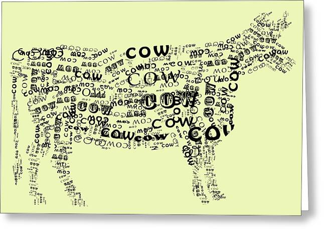 Cow Print Greeting Card by Heather Applegate