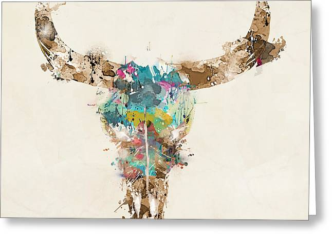 Cow Skull Greeting Card by Bri B