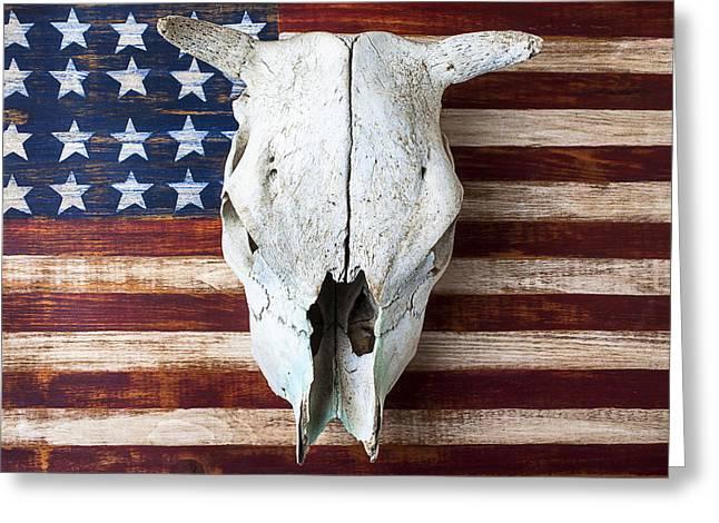 Cow Skull On Folk Art American Flag Greeting Card by Garry Gay