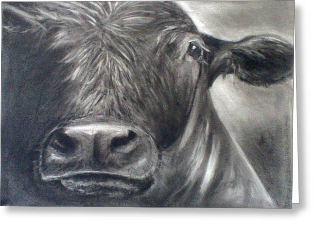 Greeting Card featuring the drawing Cow View by J L Zarek