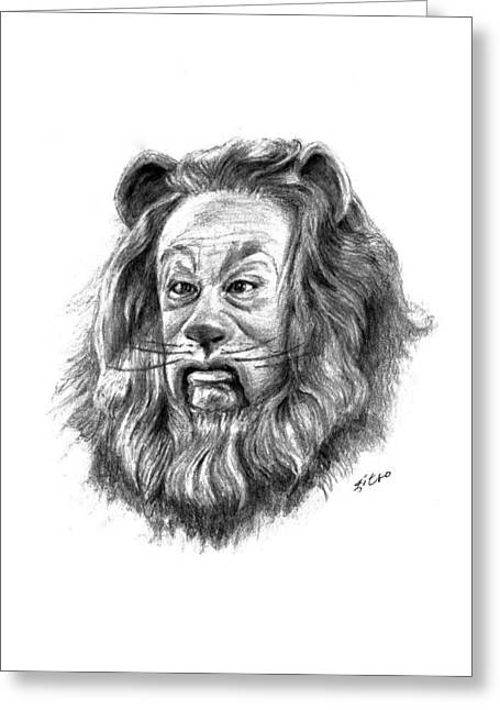 Cowardly Lion Greeting Card by Lou Ortiz