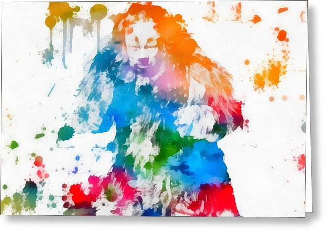 Cowardly Lion Wizard Of Oz Paint Splatter Greeting Card by Dan Sproul