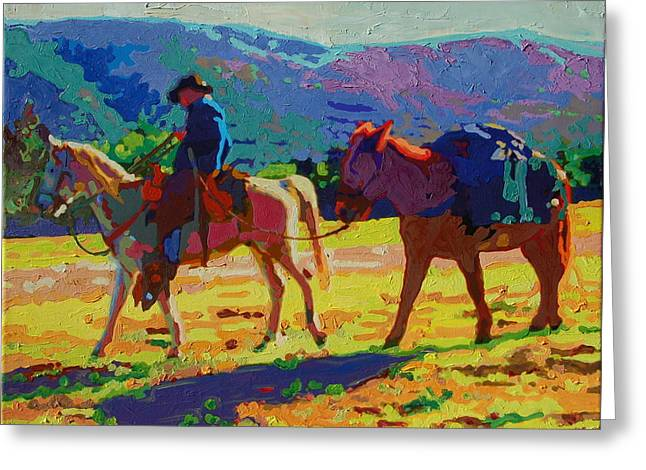 Cowboy And Pack Mule 2 Greeting Card