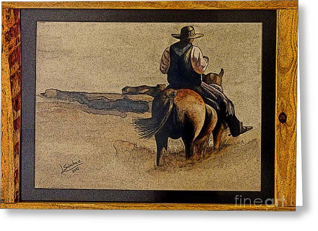 Cowboy Art By L. Sanchez Greeting Card by Al Bourassa