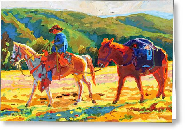 Cowboy Art Cowboy And Pack Horse Oil Painting Bertram Poole Greeting Card