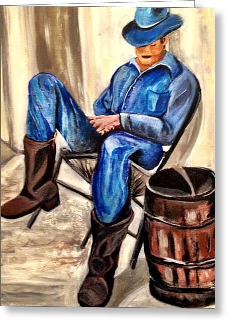 Cowboy Blue Greeting Card by Melanie Wadman