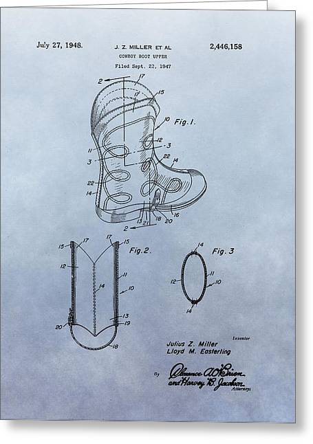 Cowboy Boot Patent Greeting Card by Dan Sproul