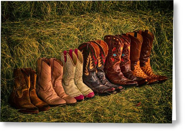Cowboy Boots On Hay Greeting Card by Kristina Deane