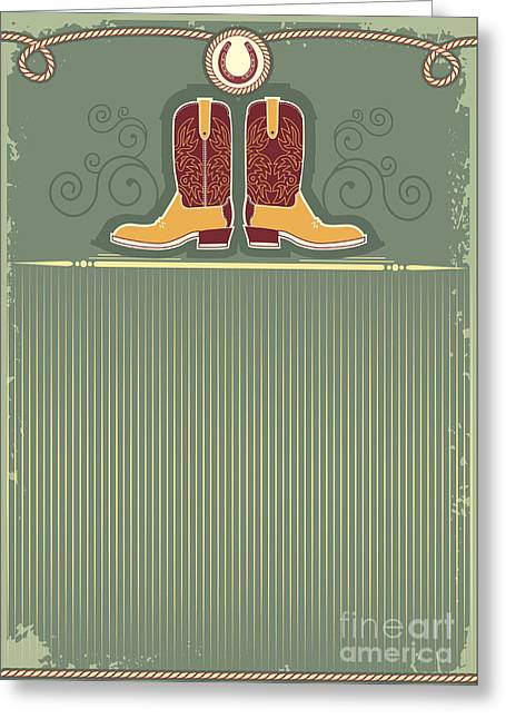 Cowboy Boots.vintage Western Decor Greeting Card