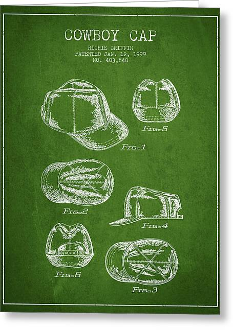 Cowboy Cap Patent - Green Greeting Card by Aged Pixel