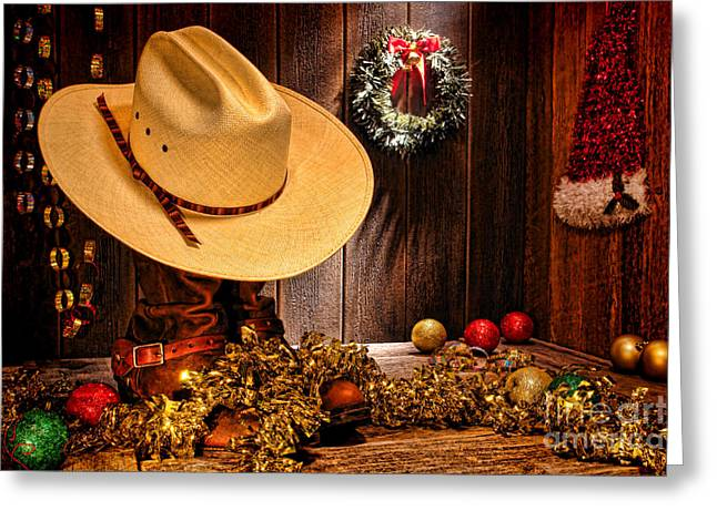 Cowboy Christmas Party Greeting Card by Olivier Le Queinec