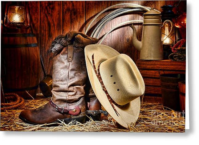 Oil Lamp Greeting Cards - Cowboy Gear Greeting Card by Olivier Le Queinec