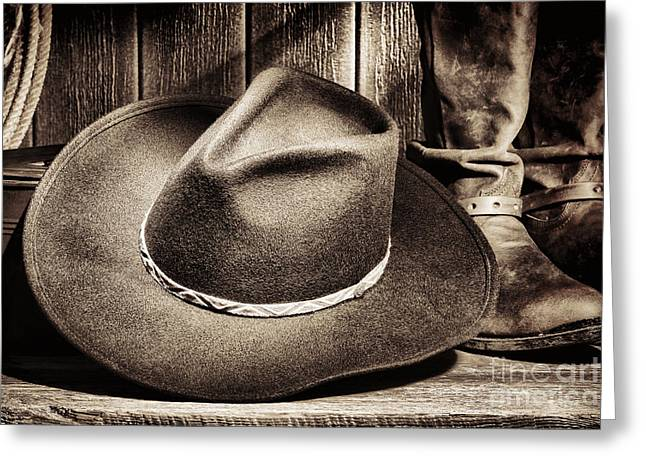 Cowboy Hat On Floor Greeting Card by Olivier Le Queinec