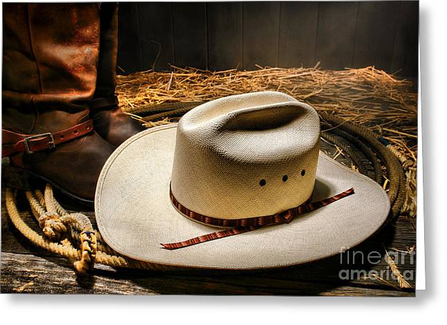 Cowboy Hat On Lasso Greeting Card by Olivier Le Queinec