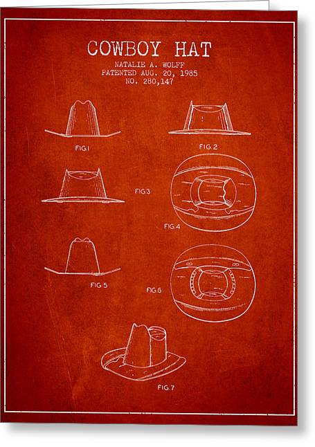 Cowboy Hat Patent From 1985 - Red Greeting Card