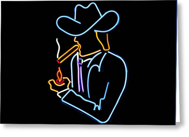 Cowboy In Neon Greeting Card by Art Block Collections