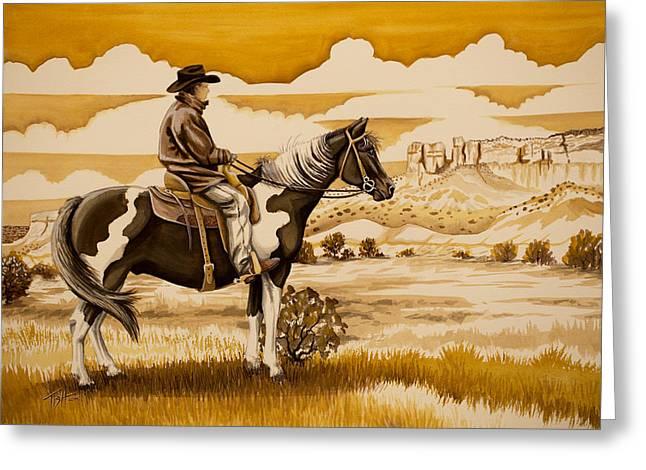 Cowboy On The Range Greeting Card by Tish Wynne