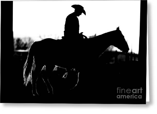 Greeting Card featuring the photograph Cowboy Rides Home In Silhouette by Lincoln Rogers