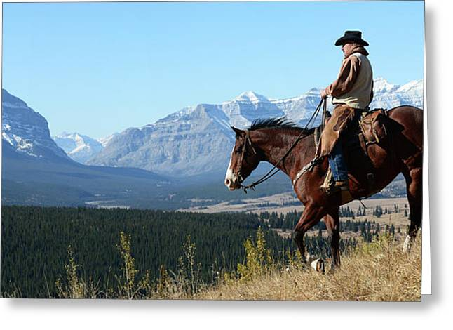 Cowboy Riding With A View Of The Rocky Greeting Card by Deb Garside
