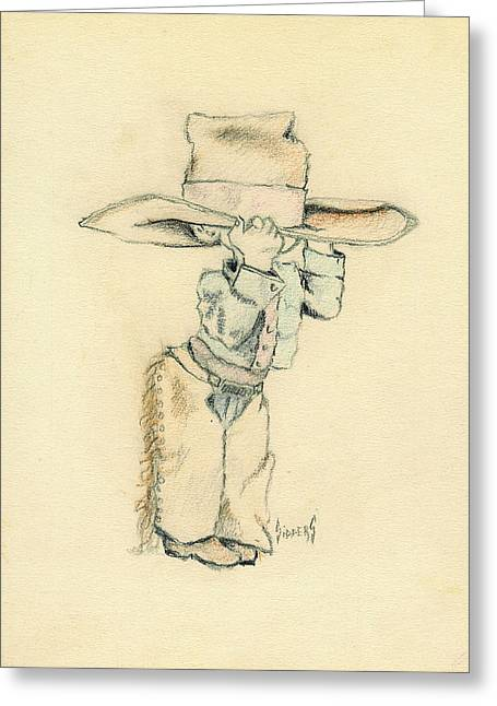 Cowboy Greeting Card by Sam Sidders