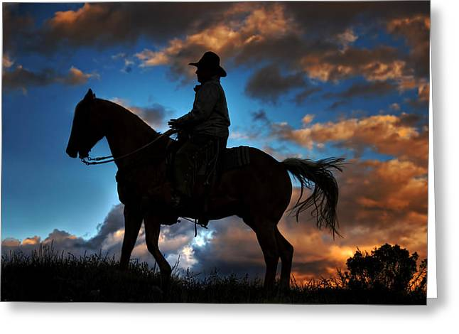 Greeting Card featuring the photograph Cowboy Silhouette by Ken Smith