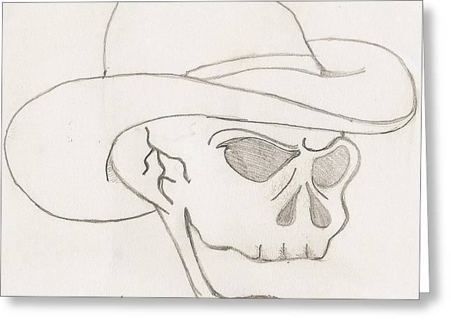 Cowboy Skull Greeting Card by Scott Williams
