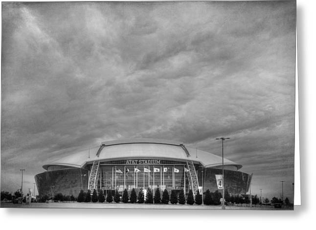 Cowboy Stadium Bw Greeting Card by Joan Carroll