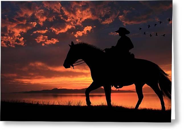 Cowboy Sunset Greeting Card