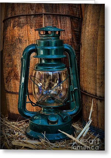 Cowboy Themed Wood Barrels And Lantern Greeting Card by Paul Ward