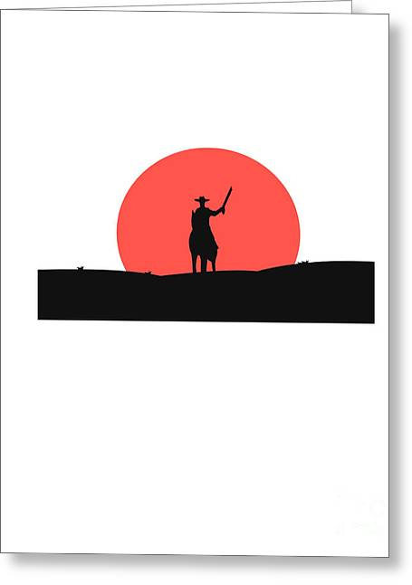 Cowboy With A Gun On A Horse In The Greeting Card