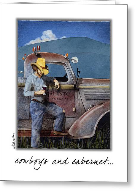 Cowboys And Cabernet... Greeting Card by Will Bullas