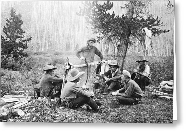 Cowboys Around A Campfire Greeting Card by Underwood Archives