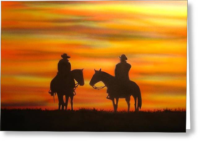 Greeting Card featuring the painting Cowboys At Sunset by Chris Fraser
