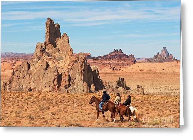 Greeting Card featuring the photograph Cowboys by Bob and Nancy Kendrick