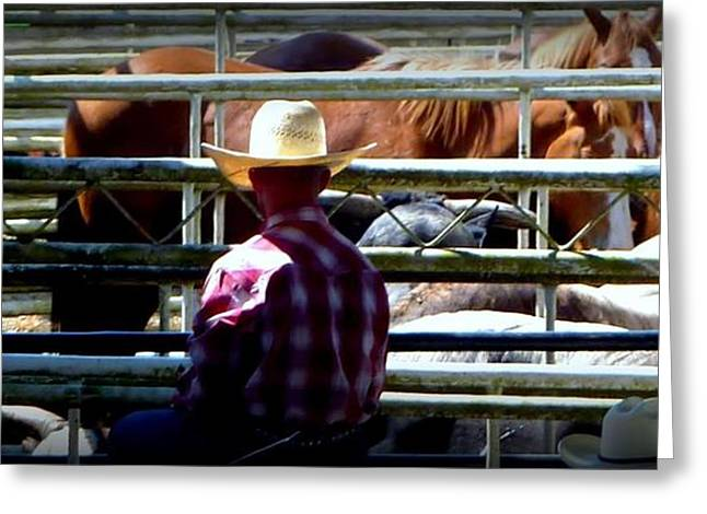 Greeting Card featuring the photograph Cowboys Corral by Susan Garren