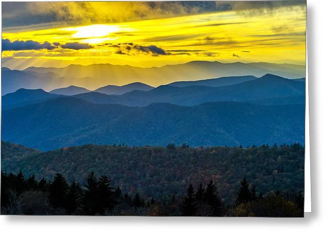 Cowee Mountain Sunset Greeting Card