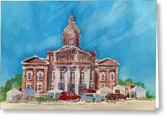 Greeting Card featuring the painting Coweta County Courthouse Painting by Sally Simon