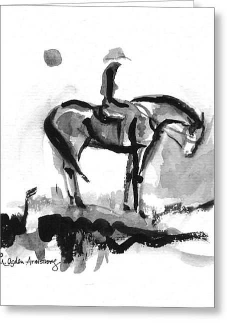 Greeting Card featuring the drawing Cowgirl At End Of Day by Mary Armstrong