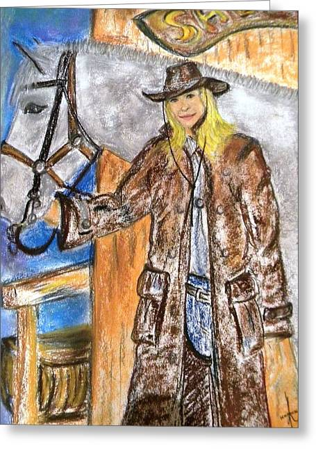 Cowgirl Greeting Card by Igor Kotnik
