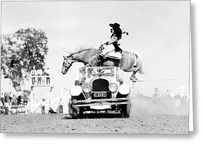 Cowgirl Performing Stunt, 1934 Greeting Card