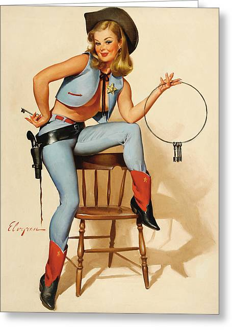 Cowgirl Pin-up Girl Greeting Card