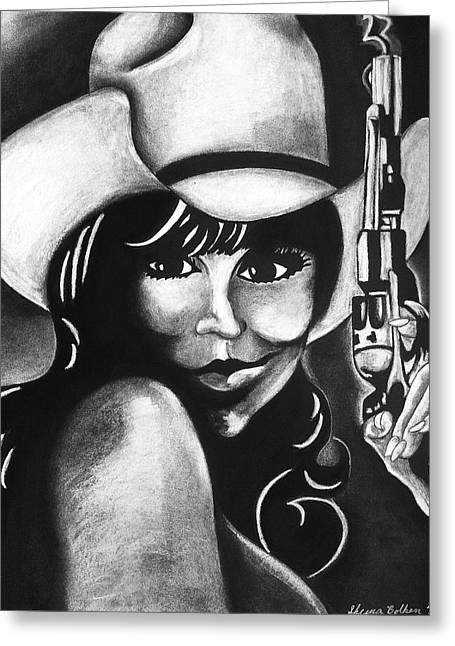 Cowgirl Greeting Card by Sheena Pape