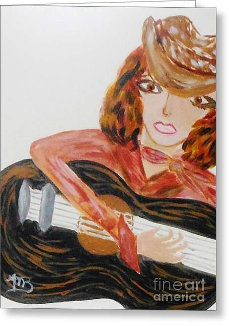 Cowgirl Singer Greeting Card by Marie Bulger